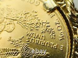 1995 $5 1/10 oz Liberty coin 14K rope link bezel pendant. 4.7gm