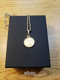 1996 1/10 fine gold 5 Dollar Coin with 14k Bezel And 24 10k rope necklace