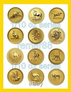 1996-2007 12 Coin Australian Lunar (Series I) 1/10 oz 9999 Fine Gold Set 24K