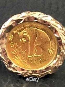 1998 Fine Gold Panda Coin Ring 10K