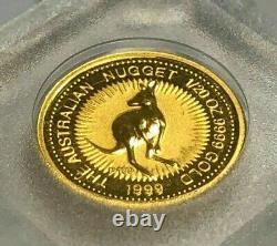 1999 Australia 1/20th oz. 9999 Fine Gold Nugget (Kangaroo) $5 Coin, BU
