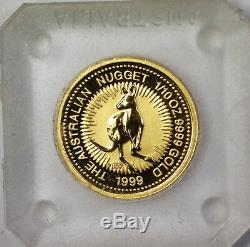 1999 Australia $15 Reverse Proof Gold Nugget 9999 Fine 1/10 Oz Coin in Capsule