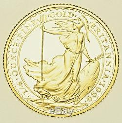 1999 Britannia ¼ Oz. Fine Gold Proof £25, From Elizabeth Ii, Coin Cased With Coa