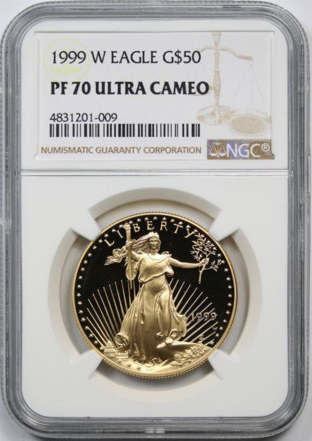 1999-w Gold Eagle G$50 Ngc Pf 70 Ultra Cameo One Ounce 1 Oz Fine Gold