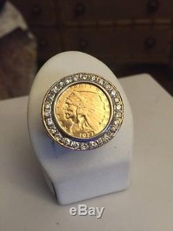 $2.1/2 DOLLAR 23.5K GOLD INDIAN HEAD EAGLE COIN MENS RING DIAMOND SZ 12.5 Heavy