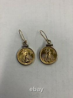 2 Standing Lady Liberty 5 Dollar 1/10 OZ. 999 Fine Gold Coin earrings