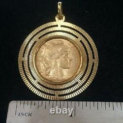 20 Francs Rooster Type 22K Gold Coin Set Within 18k Solid Gold Fancy Pendant