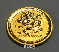 2000 Australia 1/20th oz. 9999 Fine Gold, Chinese Year of the Dragon $5 Coin