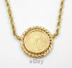 2001 1/10 OZ $5 Dollars American Fine Gold Eagle Coin Necklace 14k Gold Rope
