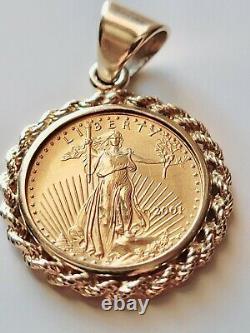 2001 1/10oz Fine Gold $5 Liberty 14k Gold Rope Bezel Coin Pendant 20 Necklace