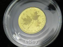 2001 1/4 oz OUNCE GOLD MAPLE LEAF HOLOGRAM COIN 9999 FINE RCM 10 DOLLARS BOX