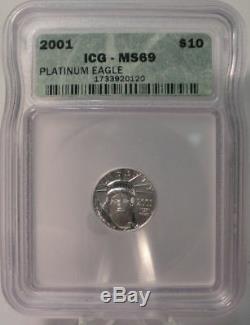 2001 $10 Platinum 1/10 Oz. 9995 Fine American Eagle Icg Ms69 Dollar Coin Liberty