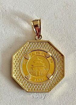 2001.999 FINE GOLD PANDA BEAR COIN, IN HANDSOME OCTAGONAL BEZEL With 14KT BALE