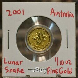 2001 Australian Lunar Snake $15 Gold Coin 1/10 oz. 999 Fine Year of the Snake