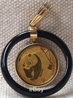 2002 1/20 oz. 999 Fine Gold Panda Coin 14k Gold & Onyx Pendant b