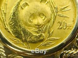 2003's 1/20 Oz 999 Panda 5 Yuan Gold Bullion Coin Pendant In 14K Bezel 3.5gm
