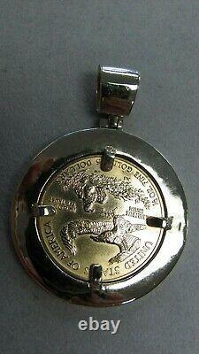 2004 $25 Fine Gold 1/2 Oz American Eagle Coin In A 14k Diamond Bezel Pendant