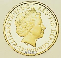2004 Britannia ¼ Oz. Fine Gold Proof £25, From Elizabeth Ii, Coin Cased With Coa