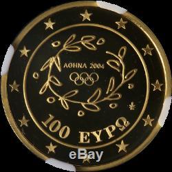 2004 Greece Gold 100 Euro NGC Gem Proof Acropolis. 999 Fine