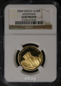 2004 Greece Gold 100 Euro NGC Gem Proof Palace of Minos. 999 Fine Mislabeled