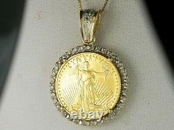 2005 1/10 Oz American Gold Eagle Pendant 14k Yellow Gold 18 Box Chain Necklace