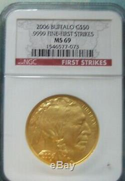 2006 $50 American Gold Buffalo 1 oz. 9999 Gold NGC MS 69 Fine First Strikes