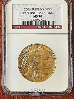 2006 Buffalo Gold $50.9999 Fine NGC First Strikes MS 70