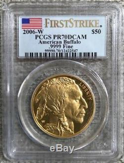 2006-W $50 1-oz Gold Buffalo Proof PCGS PR70DCAM First Strike. 9999 Fine Gold