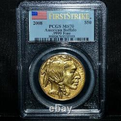 2008 $50 1 Oz Gold Buffalo Pcgs Ms-70 First Strike 1ozt. 9999 Fine Trusted