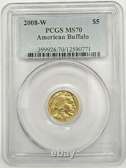 2008-W $5 American Buffalo. 9999 Fine Gold Coin, PCGS MS70