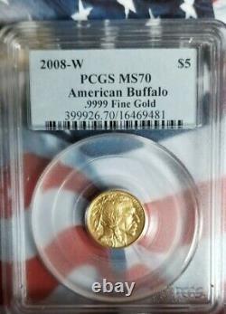 2008 W $5 Pcgs Ms70dcam American Buffalo. 9999 Fine Gold B9
