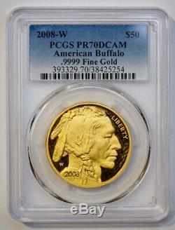 2008-W $50 1 oz Gold Buffalo Coin PCGS PR70DCAM. 9999 Fine Gold