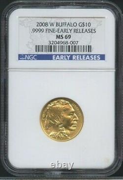 2008 W American Buffalo Gold Early Release $10 1/4 Oz Ngc Ms69.9999 Fine Ms 69