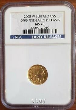 2008 W NCG MS70 $5 GOLD BUFFALO 1/10 Oz. 9999 Fine BURNISHED EARLY RELEASE ER