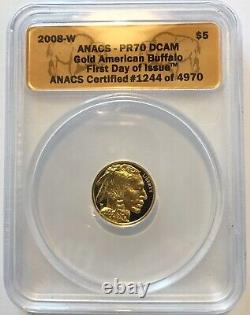 2008 W buffalo gold $5 1/10oz. 9999 fine pr70 first day issue 1244 of 4970 anacs