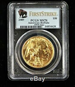 2009 $50 1 oz. 9999 Fine Gold Buffalo PCGS MS70 First Strike