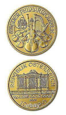 2009 Austria Philharmonic BU 1/10 oz. 9999 Fine Gold Coin Fresh From Mint Tube