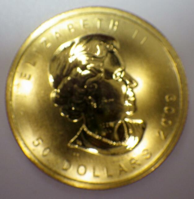 2009 Canada Maple Leaf. 9999 1 T. Ounce Pure Fine Gold Coin $50 Dollars