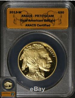 2013-W Buffalo Gold $50.9999 Fine ANACS PR70DCAM Fantastic Luster Nice Strike