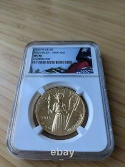 2015-W High Relief $100 Liberty Gold 1 oz. 9999 Fine NGC MS70 PERFECT