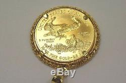 2016 1/2 Oz Fine Gold American Eagle $25 Coin in 14k Yellow Gold Pendant