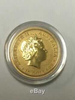 2016 Gold 1/10 oz. 999 Fine Australia $15 Kangaroo Coin Queen Elizabeth BU