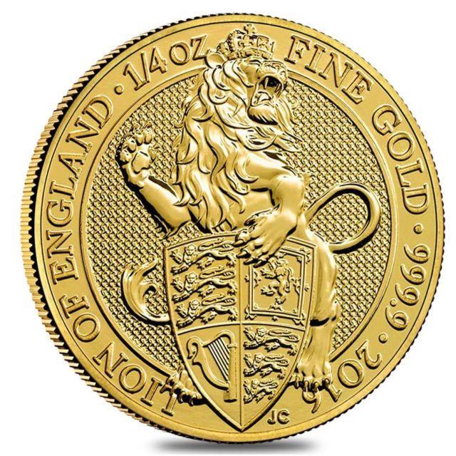 2016 Great Britain 1/4 Oz Gold Queen's Beasts (lion) Coin. 9999 Fine Bu