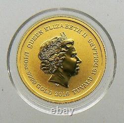 2016-P 1/10 oz Gold Coin Tuvalu $15 Pearl Harbor 75th Anniversary. 9999 Fine