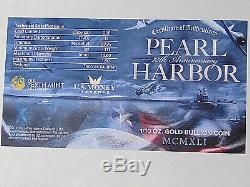 2016-P $15 Pearl Harbor 75th Anniversary 1/10 oz. 9999 Fine Gold Perth Mint