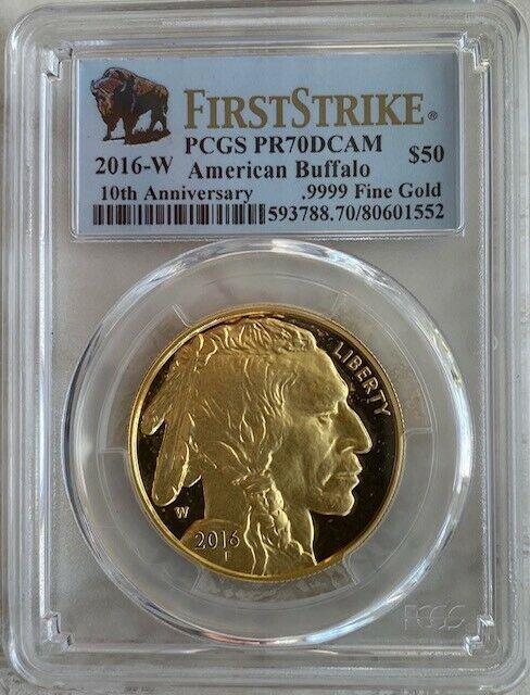 2016-w $50 1-oz Gold Buffalo Coin Pcgs Pr70dcam First Strike. 9999 Fine Gold