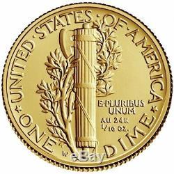2016 W Centenial Mercury Dime 1/10oz. 9999 Fine Gold in OGP