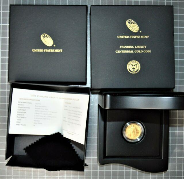 2016-w Standing Liberty Quarter Centennial 1/4 Oz. Gold Coin. 9999 Fine Ogp