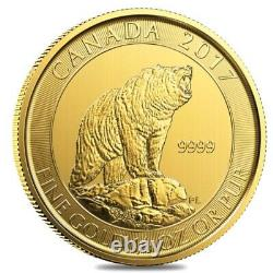 2017 1/3 oz $15 Canadian Grizzly Bear Gold Coin. 9999 Fine BU (Sealed)