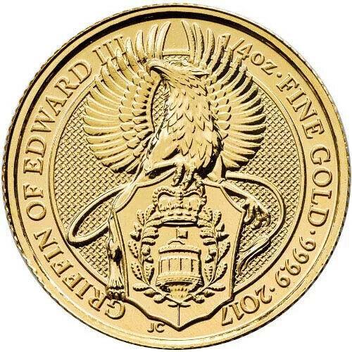 2017 1/4 Oz Gold Queens Beast Griffin Of Edward Iii. 9999 Fine